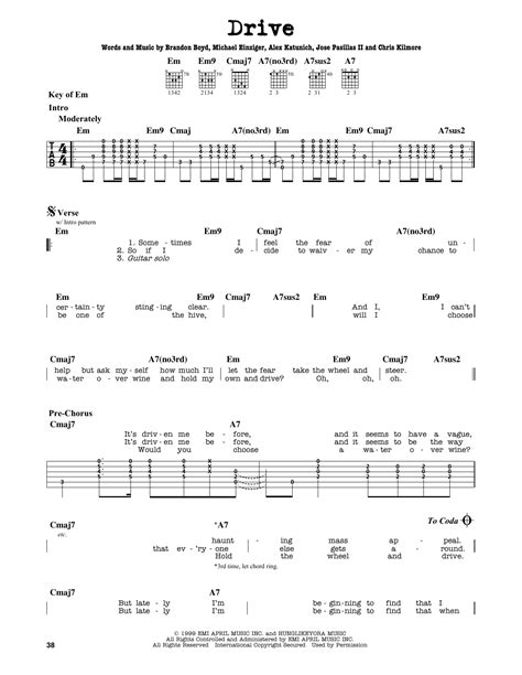 drive incubus lyrics drive by incubus guitar lead sheet guitar instructor