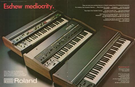 Roland Piano Plus Vintage Synthesizer retro synth ads roland quot eschew mediocrity quot ad contemporary keyboard 1979 synths