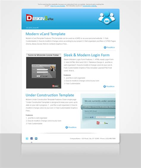 Clean Newsletter Template Design3edge Com Clean Email Template