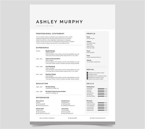 simple design resume template 20 professional ms word resume templates with simple designs