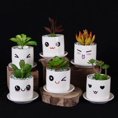 cute flower pots cute mini porcelain flower pot desk succulents vase cylinder decoration crafts creative emoji