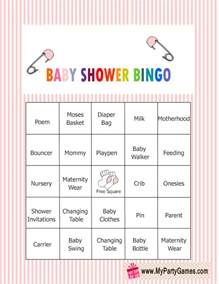free printable baby shower bingo game cards