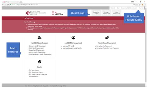 resetting netid new user interface features for university identity