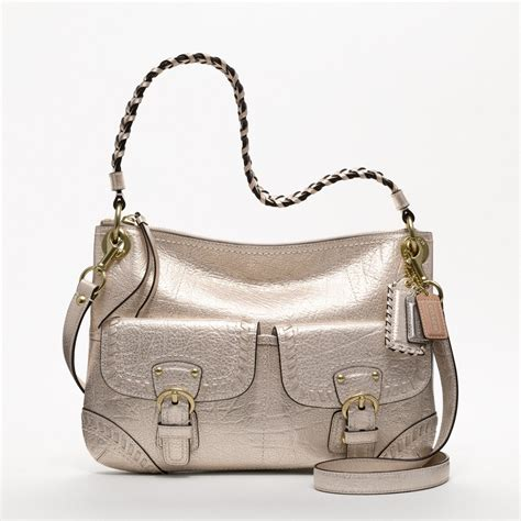 couch purse coach poppy metallic leather whipstitch hippie bag all