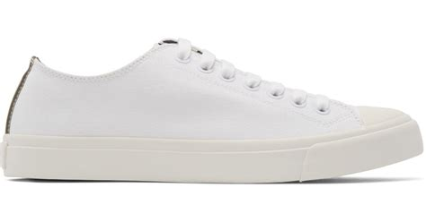 paul smith white canvas sneakers in white for lyst