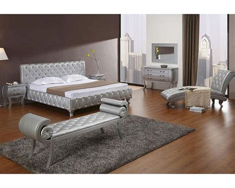 modern bed set platinum edition bedroom set w modern bed with crystals