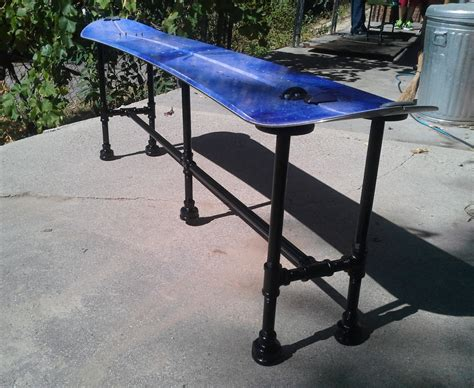 bench snowboard snowboard bench with awesome industrial plumbing pipe