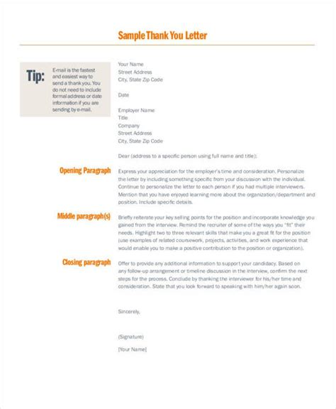 thank you letter tips 34 free thank you letters free sles in pdf doc