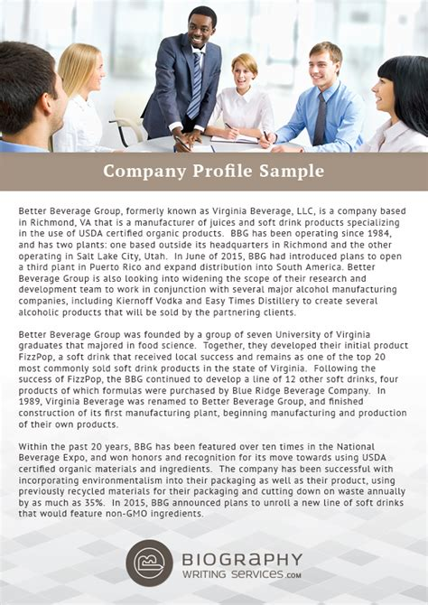 help in writing a company profile biography writing services