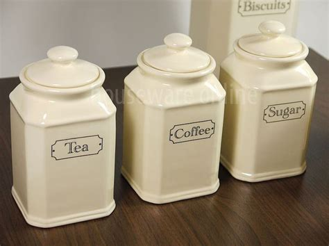 Cream Kitchen Canisters | 3pc traditional cream ivory ceramic tea coffee sugar jar