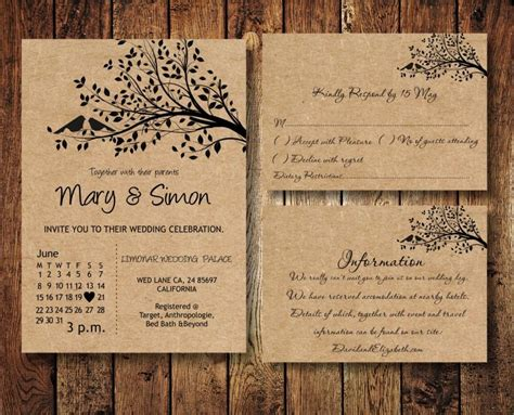 Casual Wedding Invitation Paper by Wedding Invitation Suite Template With Birds On A Tree