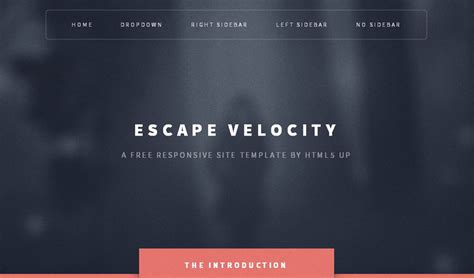 escape velocity template 21 free responsive html5 css3 website templates well made