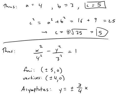 conic sections calculator find the equation of hyperbola with foci and asymptotes