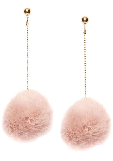 Pink Pom Pom Earring Anting blush pink pom pom earrings happiness boutique