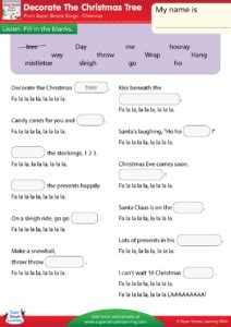 decorate the christmas tree lyrics decorate the tree worksheet fill in the blanks simple