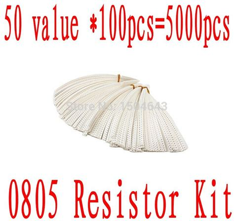 0805 resistor codes 0805 smd resistor kit 1 chip resistor 1 ohm to 1m ohm 50 values 100pcs 5000 pcs in resistors