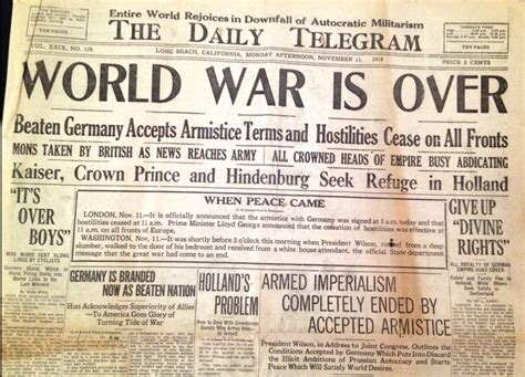 The World Is Ending 1 november 11 1918 is the official ending of world war 1