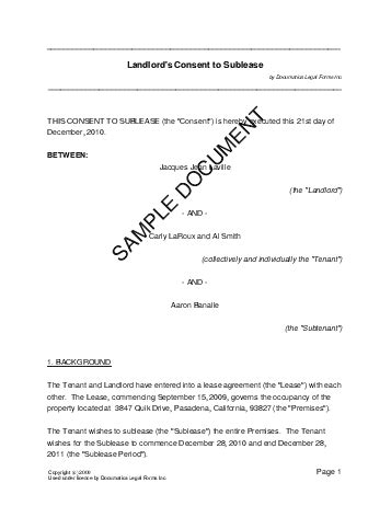 consent letter landlord landlords consent to sublease usa templates