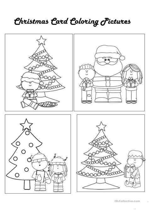 printable christmas cards esl color your own christmas cards worksheet free esl
