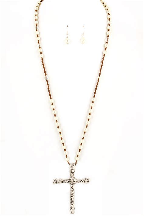 beaded pearl with cross necklace set necklaces