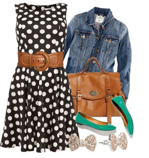 Set Blazer Polkadot Black Dress black and white dress with jean jacket and some feminine pops of color but the brown should be