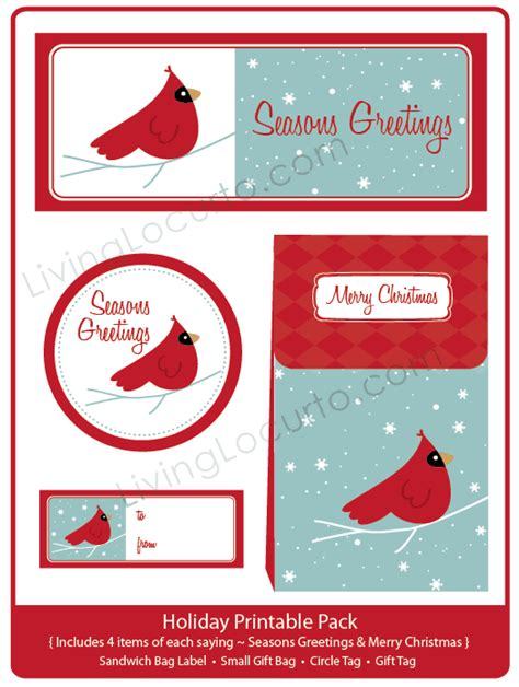 holiday party printable gift bag tag collection cardinal bird party printables  amy