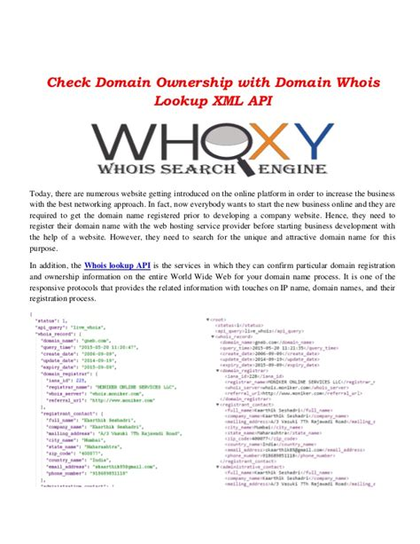 Domain Lookup By Owner Check Domain Ownership With Domain Whois Lookup Xml Api