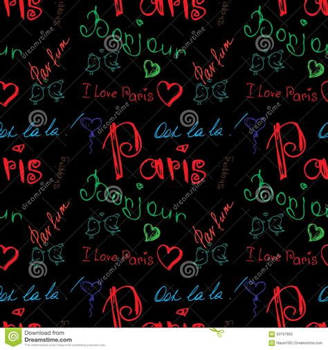 background pattern in word colored word about paris seamless pattern stock vector