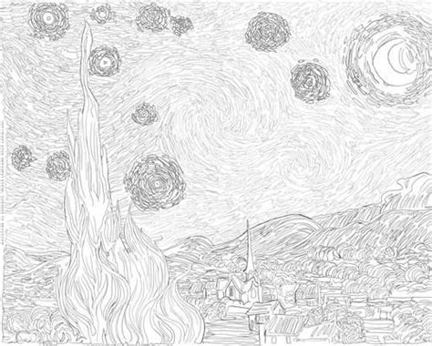 van gogh starry night coloring page free free art history coloring pages coloring starry nights