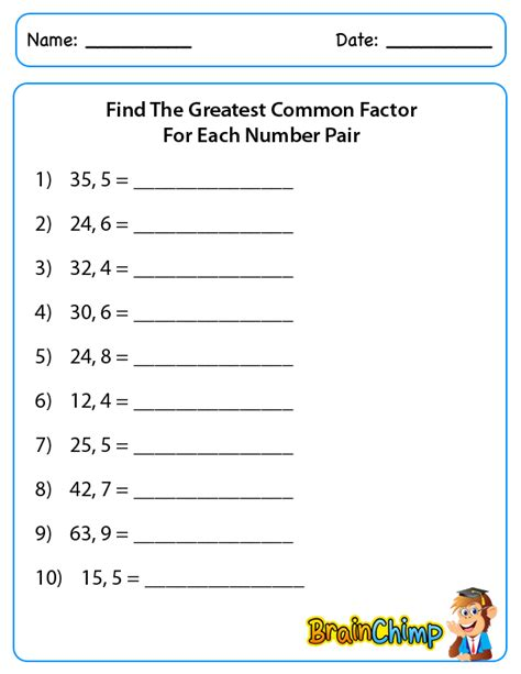 printable math worksheets lcm gcf least common multiple and greatest common factor worksheet