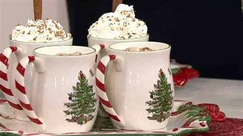 spode christmas tree candy cane handle mugs spode tree s 4 14 oz mugs on qvc