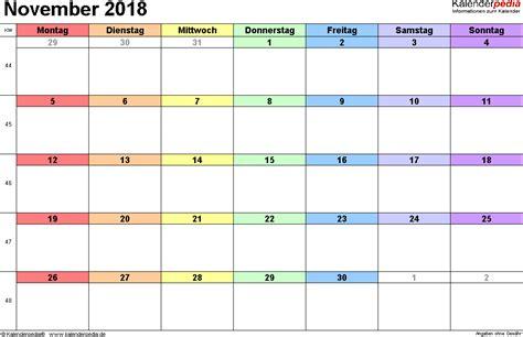 Kalender 2018 Excel Quer Kalender November 2018 Als Excel Vorlagen