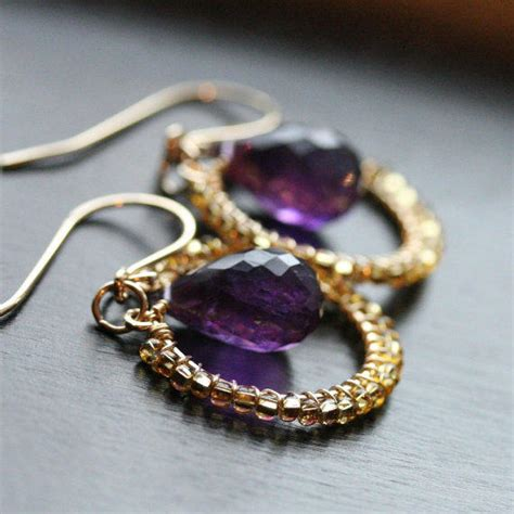 Handmade Gold Hoop Earrings - handmade gold hoop earrings purple from mimimichelejewelry on