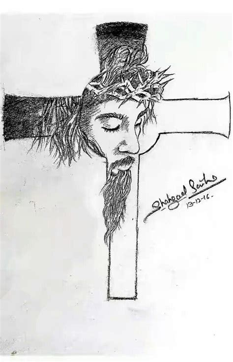 Pictures Jesus On The Cross Sketches Drawings Art Gallery Drawing Of Jesus On The Cross 2