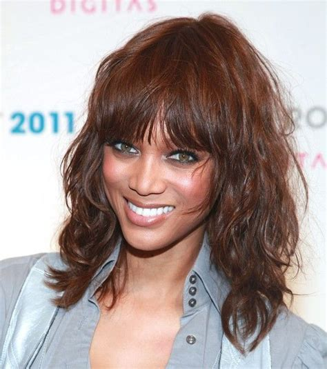 hairstyles medium length with wispy fringe and slightly curly medium length wavy hair with wispy bangs hairstyle with