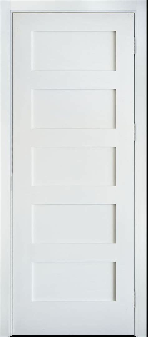Primed White 5 Panel Solid Core Shaker Mission Style 5 Panel Shaker Interior Door