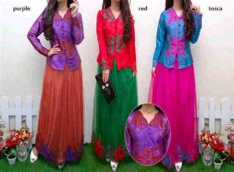 Baju Gaun Bahan Brukat Kombinasi Tile Ikat Pinggang Mutiara jual kebaya modern p555 kombinasi tile pesta murah dhabi