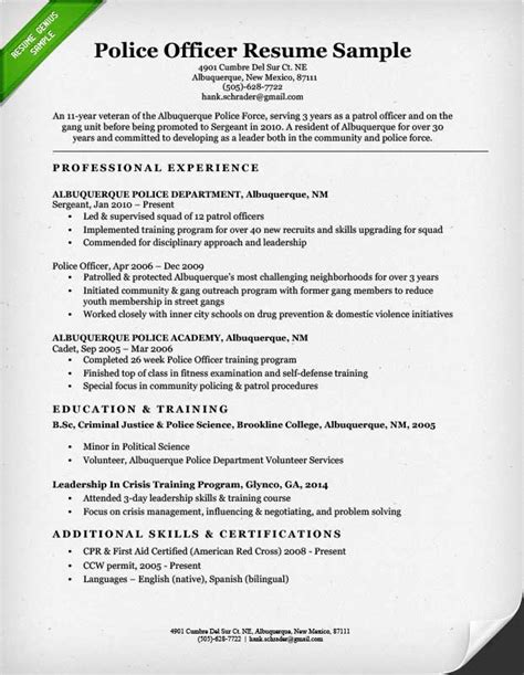 resume templates for a police officer police officer resume sle writing guide resume genius