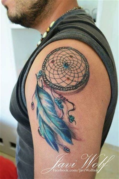 javi wolf tattoo dream catcher on shoulder sleeve with