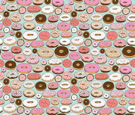 donuts on blue fabric   kristinnohe   Spoonflower