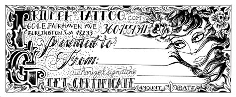 printable tattoo voucher tattoo gift certificate template blank pictures to pin on