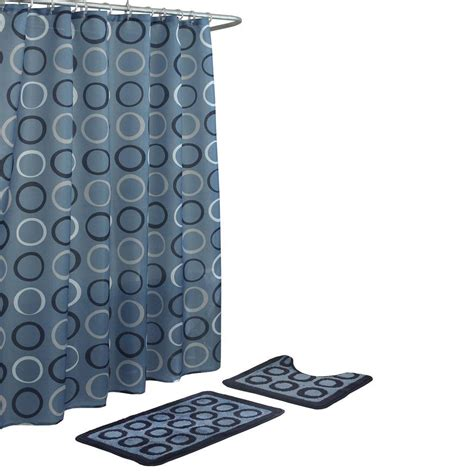 shower curtain set with rugs bath fusion terrell light blue navy 15 bath rug and shower curtain set ecb0013146 the