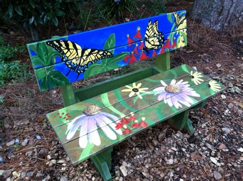 hand painted garden benches park circle butterfly garden spruced up