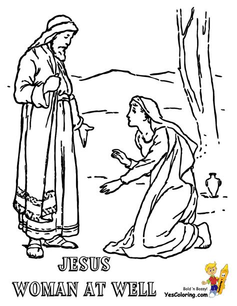 printable coloring pages woman at the well glorious jesus coloring bible coloring free printable