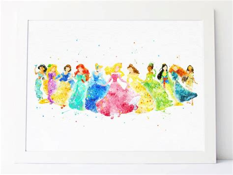 disney princess printable wall art disney princess collection watercolor nursery princess