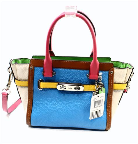 Coach Swagger Carryal Rainbow 23106 coach new blue rainbow leather swagger carryall satchel bag purse 395 009 ebay