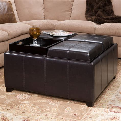 Leather Coffee Table Storage 4 Tray Top Espresso Brown Leather Storage Ottoman Coffee Table Ebay
