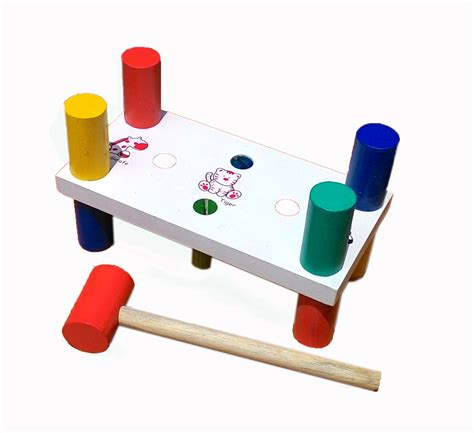 Mainan Anak Palu Bola Kayu palu kayu 4 pasak mainan eduka