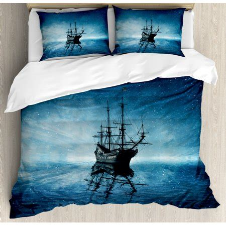 pirate comforter queen pirate ship size duvet cover set ship on blue sea with starry sky water