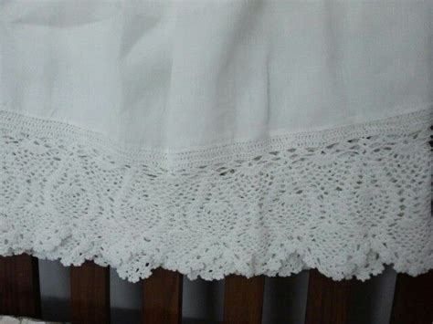 crochet bed skirt linen bed skirt with hand made crochet lace crocheted